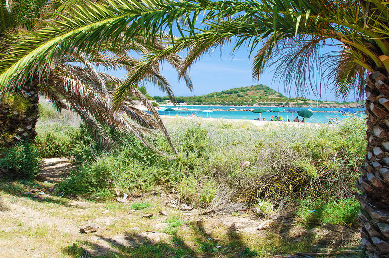 娜拉,撒丁岛白色沙子海滩  库存照片