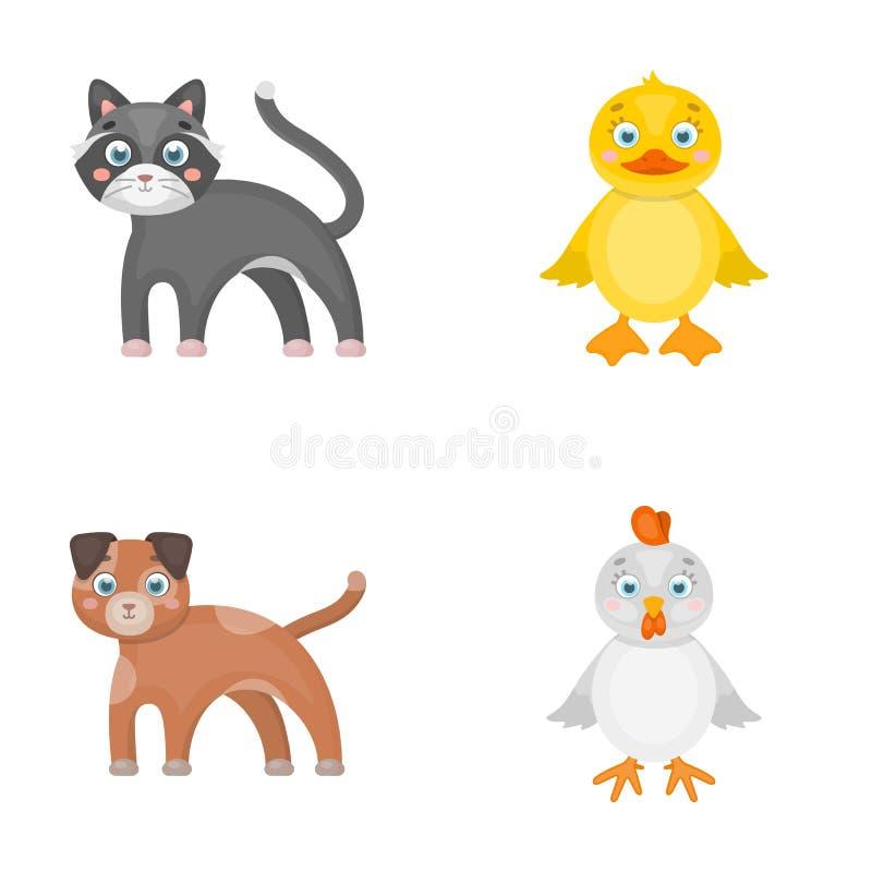 娱乐、农场、宠物和其他网象在动画片样式 鸡蛋,玩具,在集合汇集的休闲象 库存例证