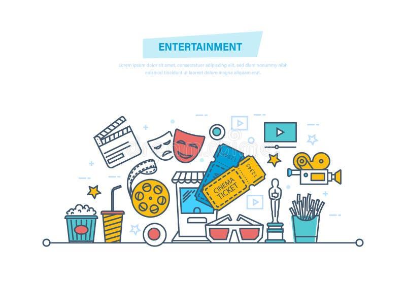 娱乐、戏院和影片,电影院概念 戏院图标查出电影布景白色 皇族释放例证