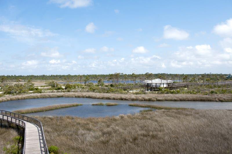 娱乐中心和木板走道的看法大盐水湖国家公园的在彭萨科拉, Floridaa 库存图片