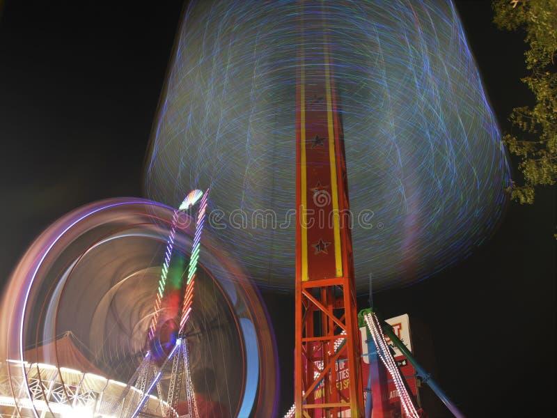 娱乐公平的乘驾长的曝光夜摄影 图库摄影