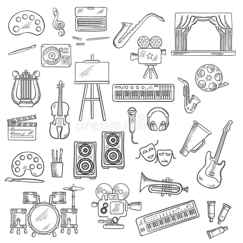 娱乐和视觉艺术剪影象 库存例证