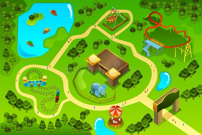 娱乐主题乐园的地图 向量例证