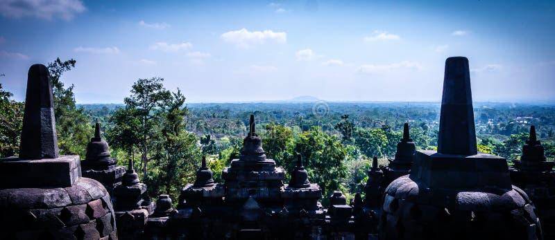 婆罗浮屠寺庙,印度尼西亚废墟  免版税库存照片
