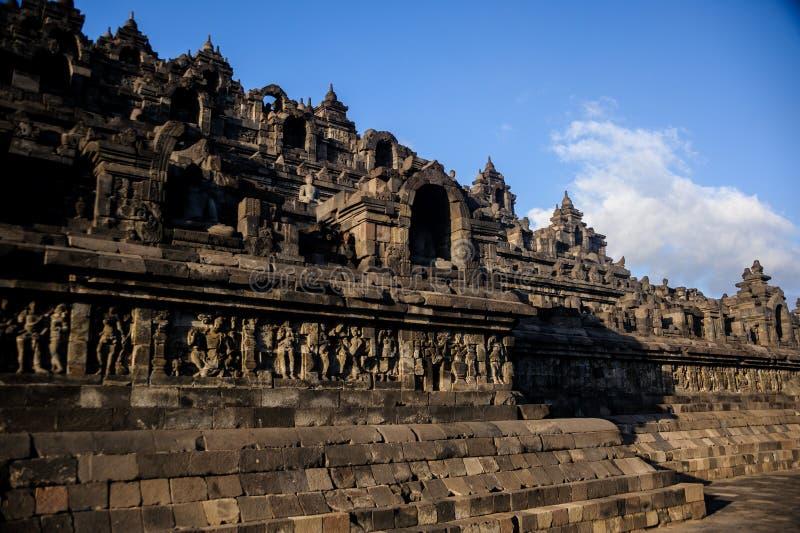 婆罗浮屠日出, Java,印度尼西亚 免版税库存照片