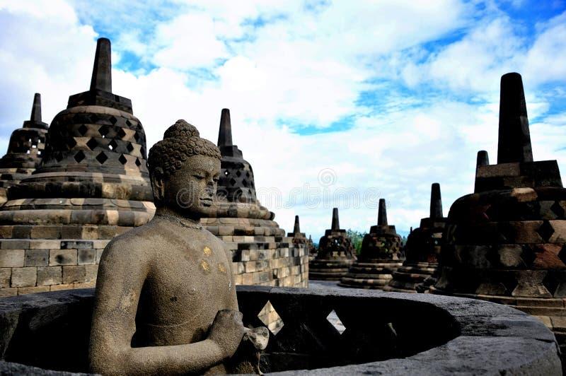 婆罗浮屠菩萨雕象 免版税库存图片