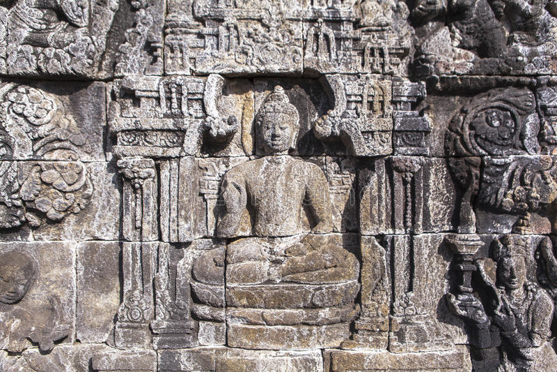 婆罗浮屠遗产在日惹,印度尼西亚 免版税库存照片