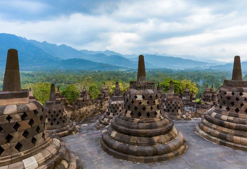 婆罗浮屠Buddist寺庙在海岛Java印度尼西亚 免版税库存照片