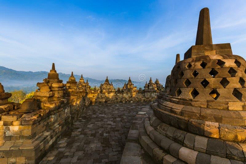 婆罗浮屠Buddist寺庙-海岛Java印度尼西亚 图库摄影