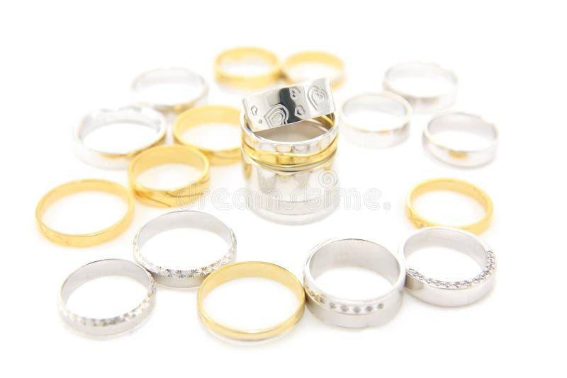 婚姻不同的环形 库存照片