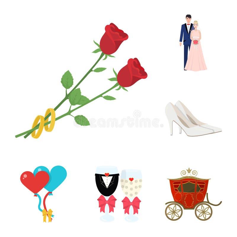 婚姻和属性在集合汇集的动画片象的设计 新婚佳偶和辅助部件传染媒介标志股票网 向量例证