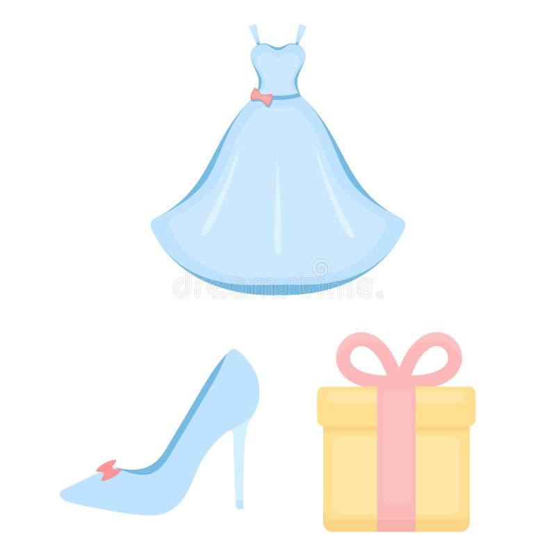婚姻和属性在集合汇集的动画片象的设计 新婚佳偶和辅助部件传染媒介标志股票网 库存例证