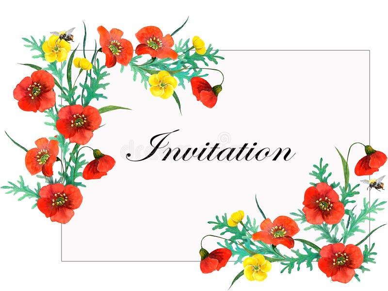 婚姻或贺卡的植物的构成 向量例证