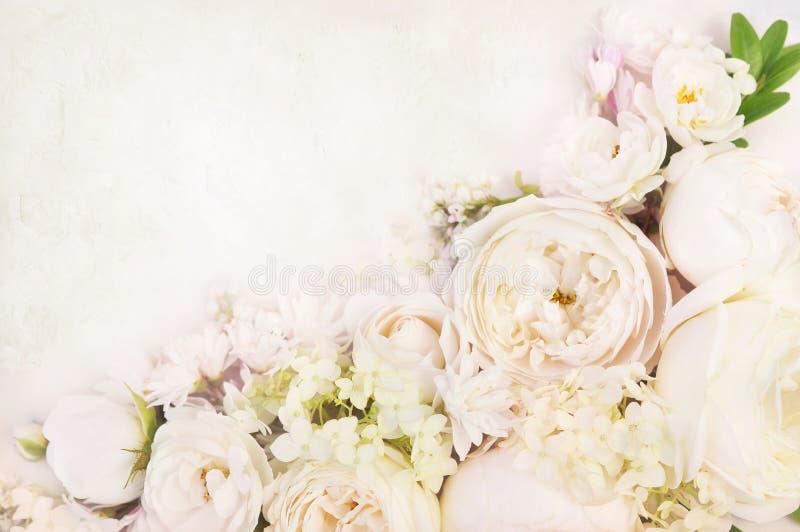 婚姻框架的夏天开花的精美白玫瑰 免版税库存图片