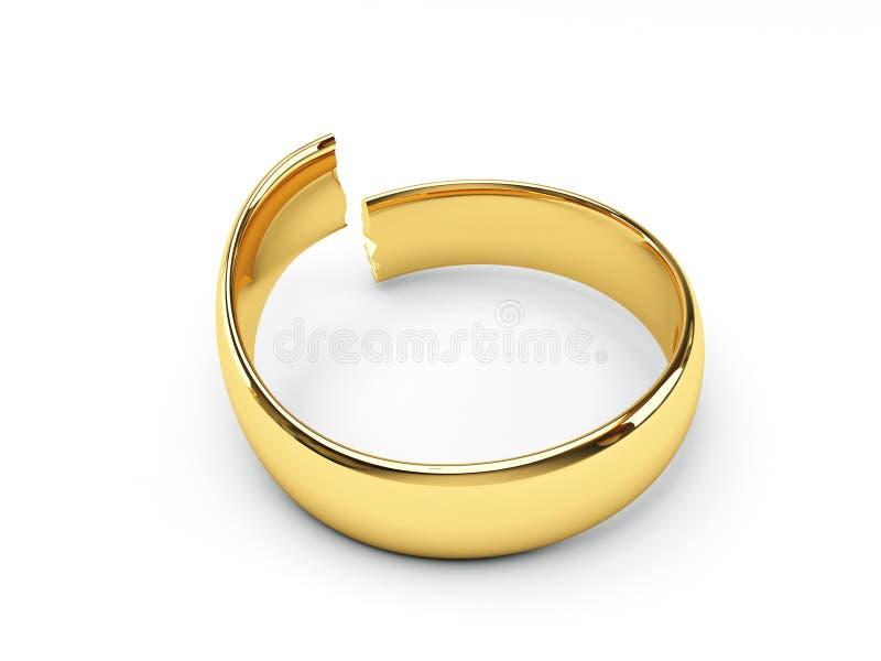 婚姻残破的金戒指 向量例证