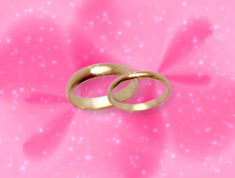 婚姻焕发桃红色的环形 库存例证