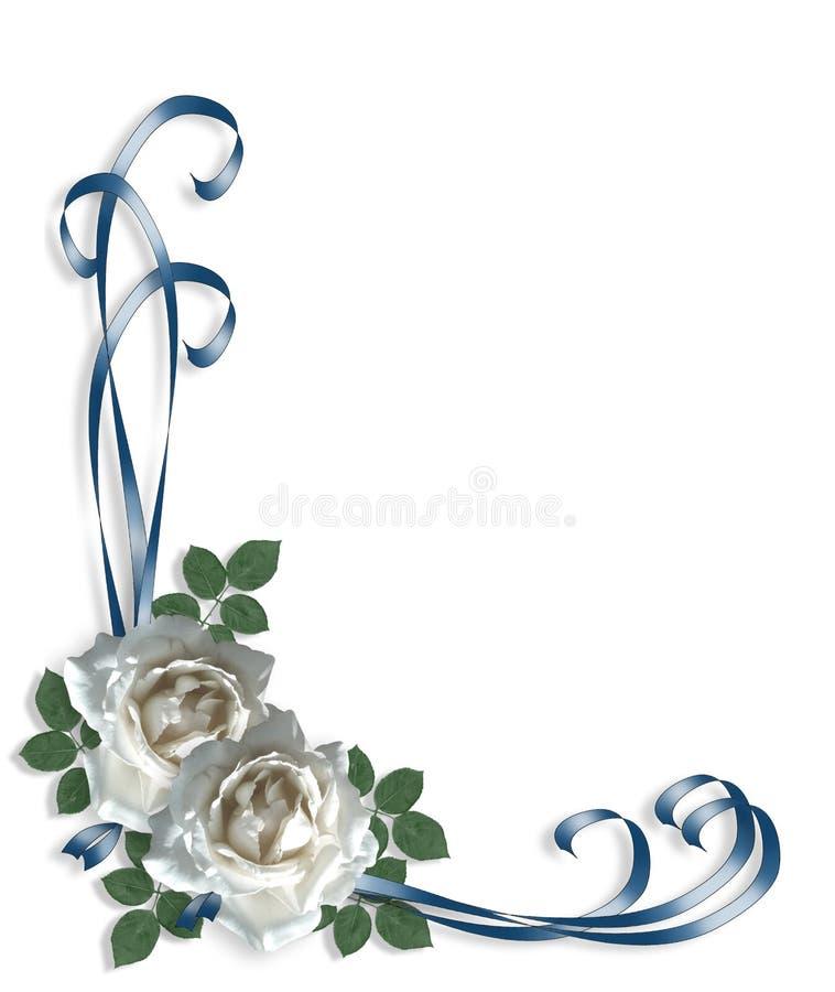 婚姻白色的邀请玫瑰 皇族释放例证