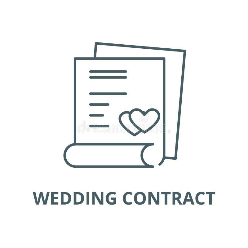 婚姻的合同传染媒介线象,线性概念,概述标志,标志 向量例证