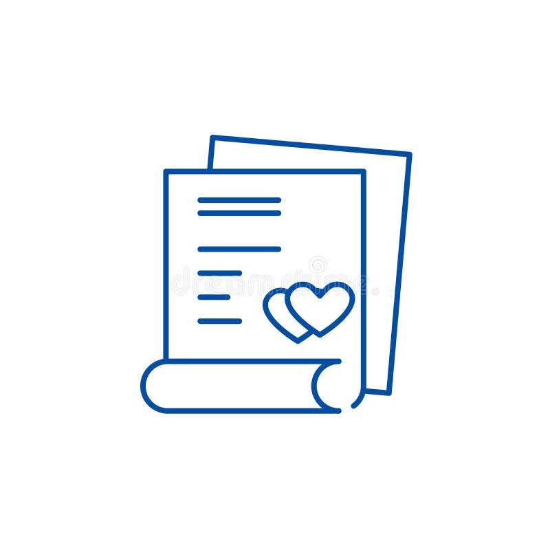 婚姻的合同线象概念 婚姻的合同平的传染媒介标志,标志,概述例证 向量例证