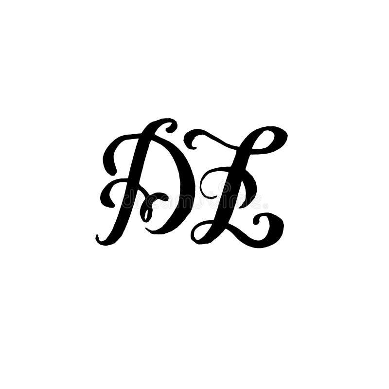 婚姻的商标组合图案设计的手拉的信件D和Z在白色背景 皇族释放例证