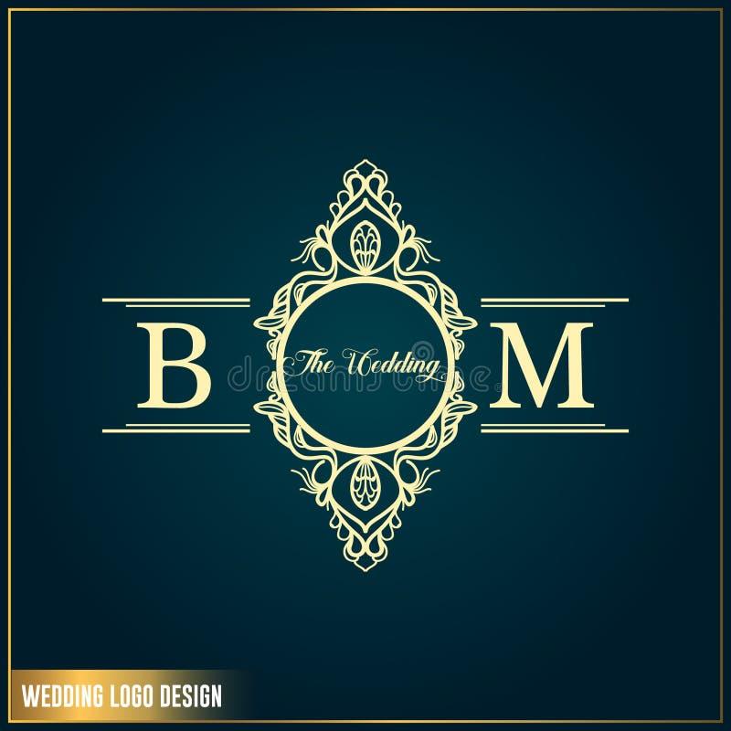 婚姻的商标设计模板 首写字母BM婚礼商标 女性典雅的婚姻的商标设计装饰品 向量例证