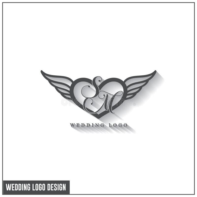 婚姻的商标设计模板 首写字母SM婚礼商标 女性典雅的婚姻的商标设计装饰品 向量例证