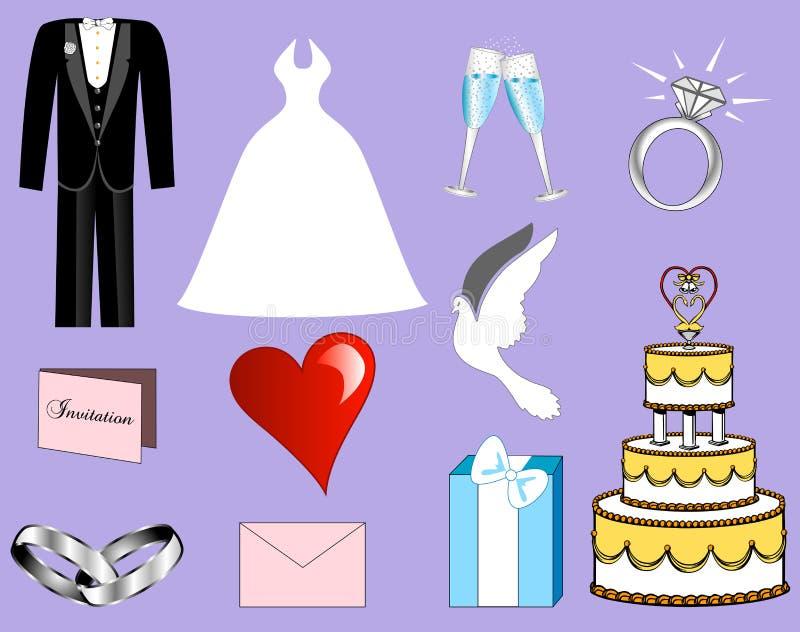 婚姻的图标 库存例证