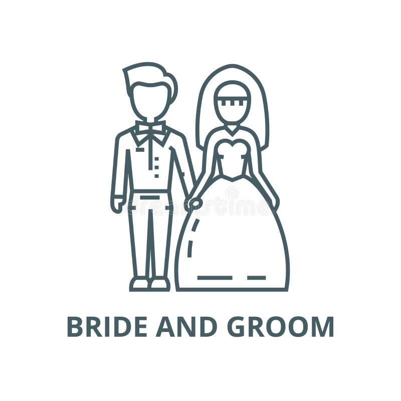 婚姻的夫妇、新娘和新郎传染媒介线象,线性概念,概述标志,标志 皇族释放例证