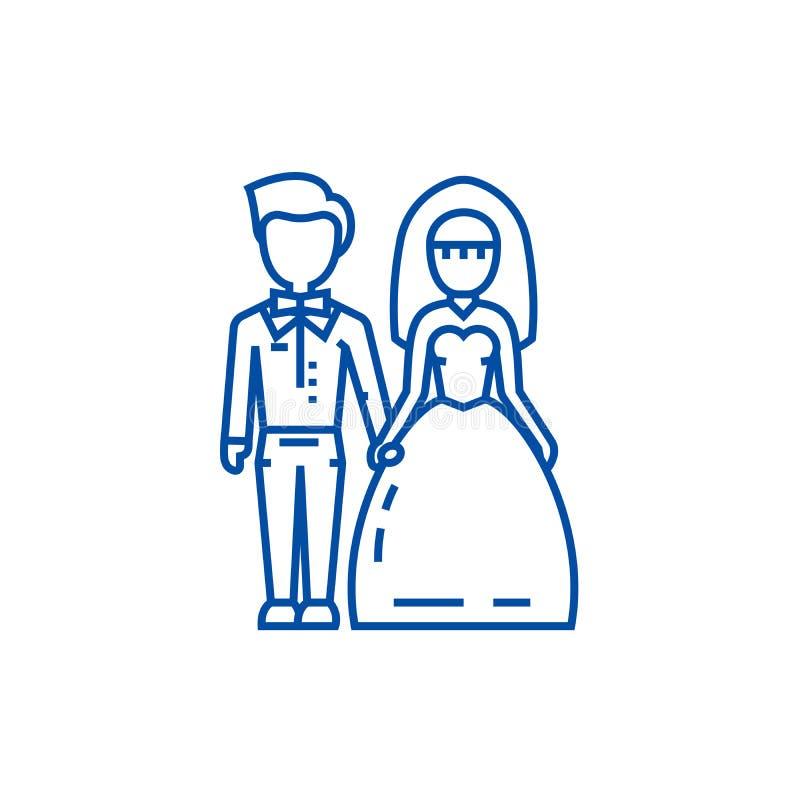 婚姻的夫妇、新娘和新郎线象概念 婚姻的夫妇、新娘和新郎平的传染媒介标志,标志,概述 皇族释放例证