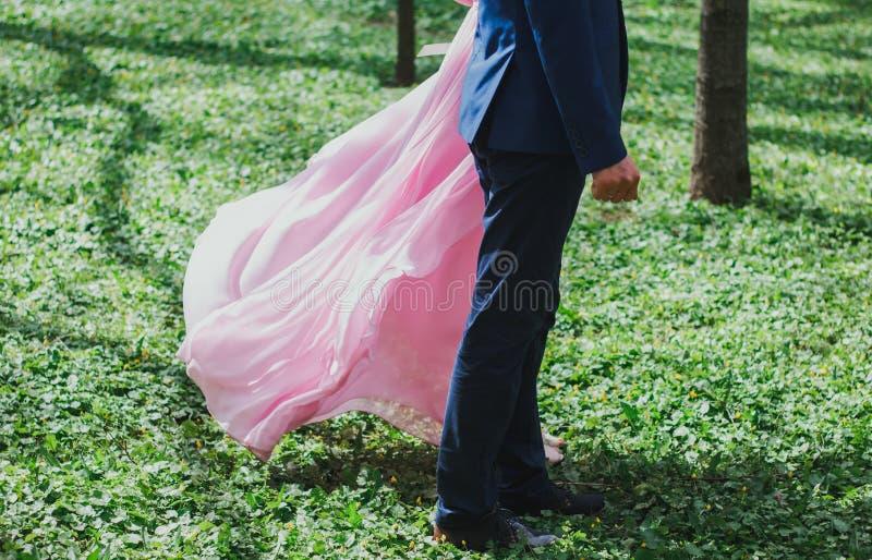 婚姻的夫妇在鲜绿色鲜绿色的草站立在夏天公园 有新娘和新郎的春天森林 桃红色薄绸的火车 免版税库存照片
