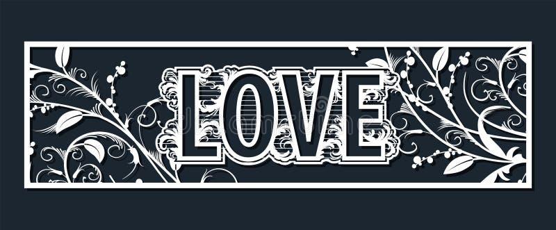 婚姻的字法爱的激光模板对切开乙烯基 装饰是花的一个风格化透雕细工样式和 皇族释放例证