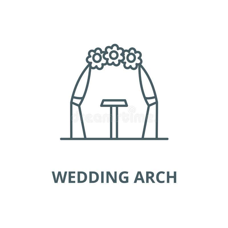 婚姻的曲拱传染媒介线象,线性概念,概述标志,标志 向量例证