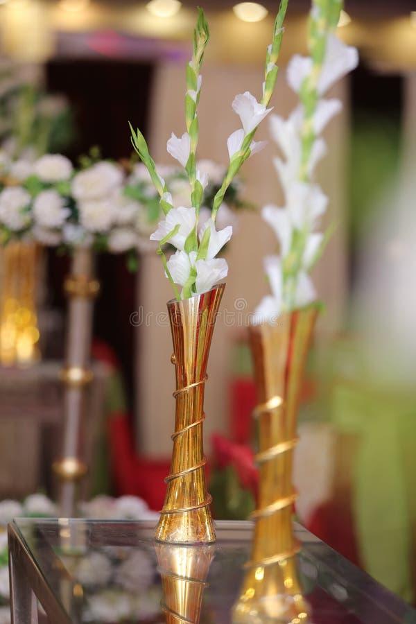 婚姻的桌装饰花 库存图片