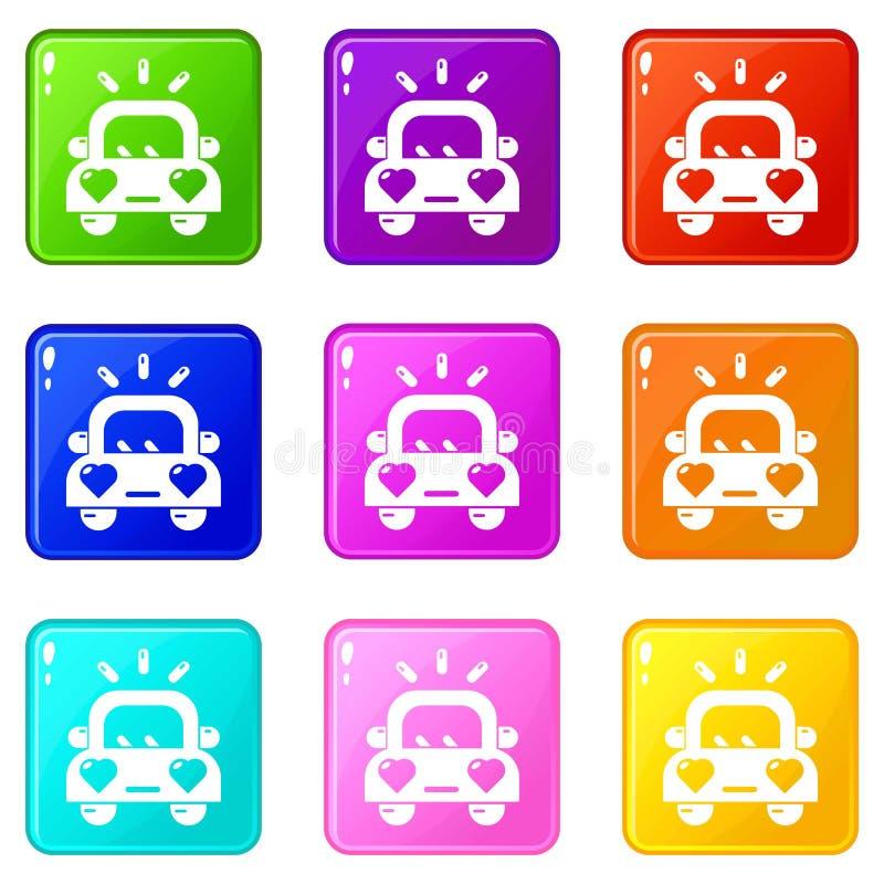 婚姻的汽车象设置了9种颜色汇集 向量例证