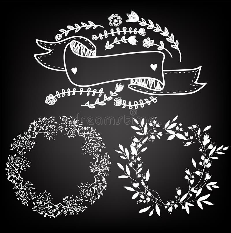 婚姻的浪漫与花圈和框架元素的集合或假日在黑板 也corel凹道例证向量 库存例证