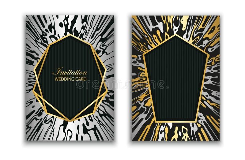婚姻的精华卡片邀请 订婚 大理石抽象纹理  背景去更多我的模式投资组合看见导航 金子和银色几何框架 皇族释放例证