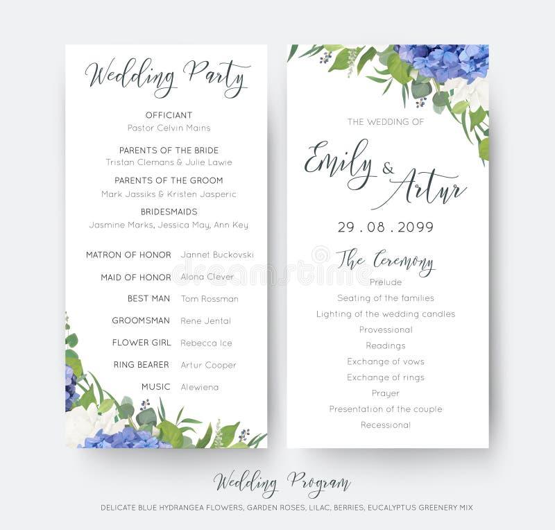 婚姻的花卉婚礼聚会&仪式程序卡片设计与典雅的蓝色八仙花属花,白色庭院玫瑰,绿色eucalyp 向量例证