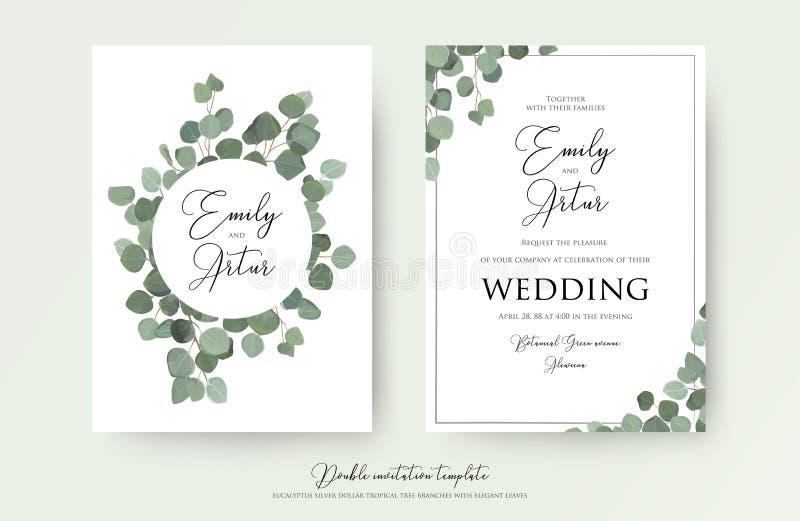 婚姻的花卉水彩样式双邀请,邀请,保存与逗人喜爱的玉树分支的日期卡片设计与绿色 向量例证