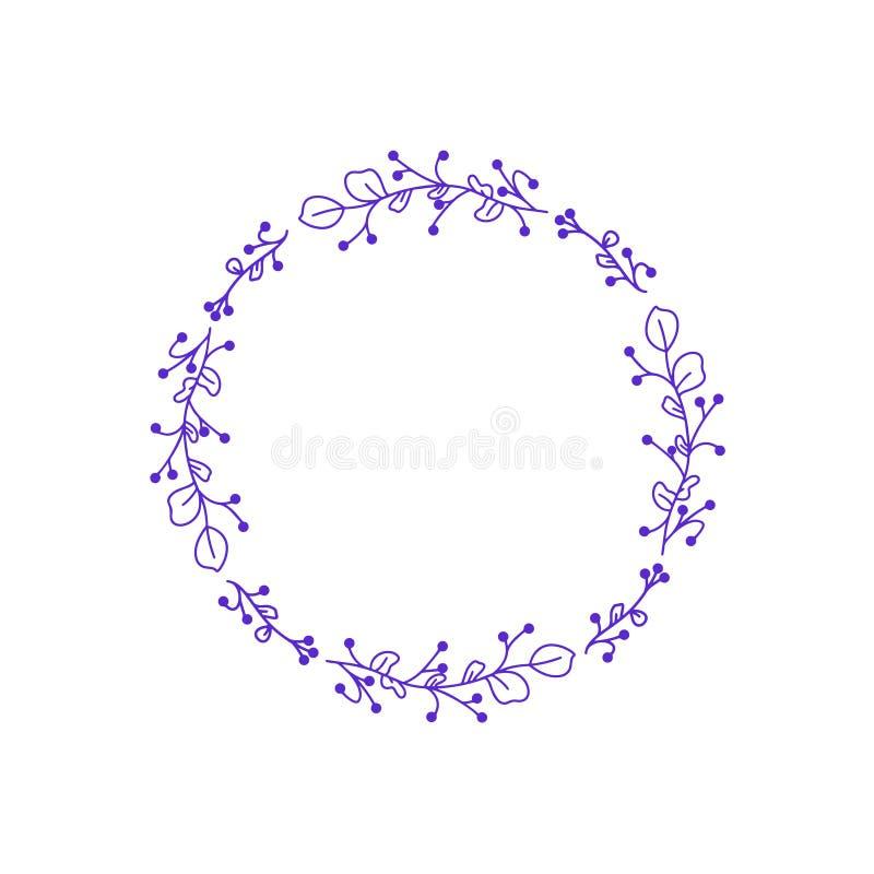 婚姻的花导航 请帖的花卉框架 花装饰元素   在白色背景的传染媒介框架 向量例证
