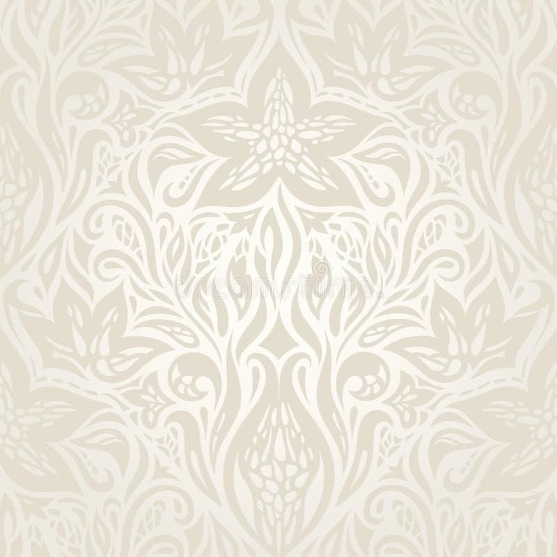 婚姻的苍白花卉样式减速火箭的花卉ecru装饰传染媒介 皇族释放例证