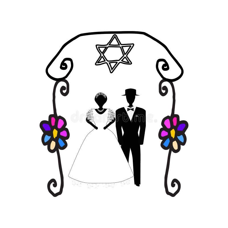 婚姻的葡萄酒的曲拱在花 犹太Hupa 婚礼箍 新娘仪式教会新郎婚礼 乱画 凹道现有量纸张水彩 也corel凹道例证向量 库存例证