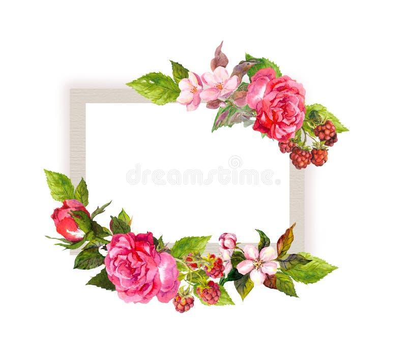 婚姻的葡萄酒花卉卡片 花,玫瑰,莓果 水彩框架 库存例证