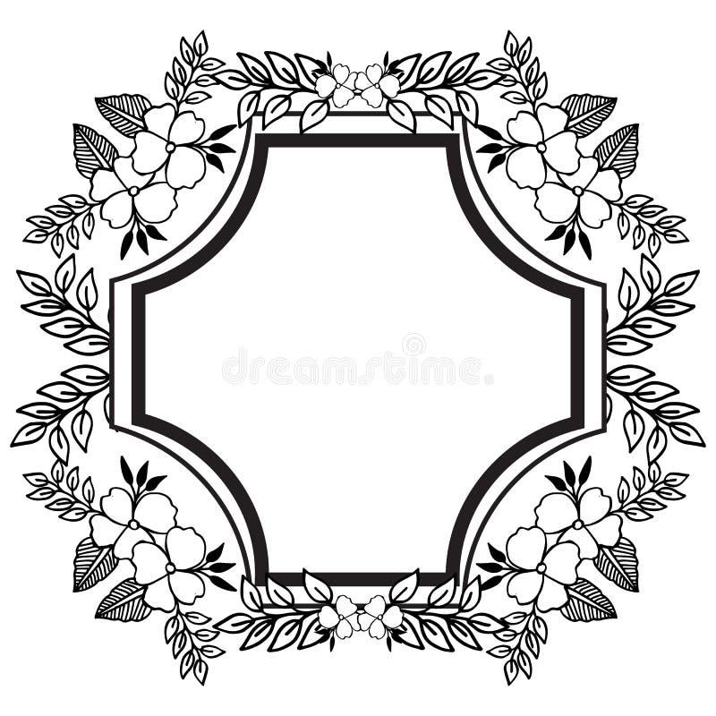 婚姻的邀请或卡片设计与美丽的花圈,逗人喜爱的花卉框架 ?? 皇族释放例证
