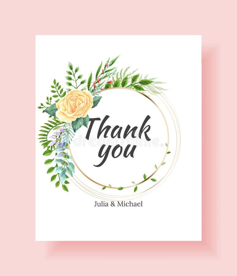 婚姻的邀请框架设置了花,叶子,水彩,隔绝在白色 速写的花圈,花卉和草本诗歌选 皇族释放例证