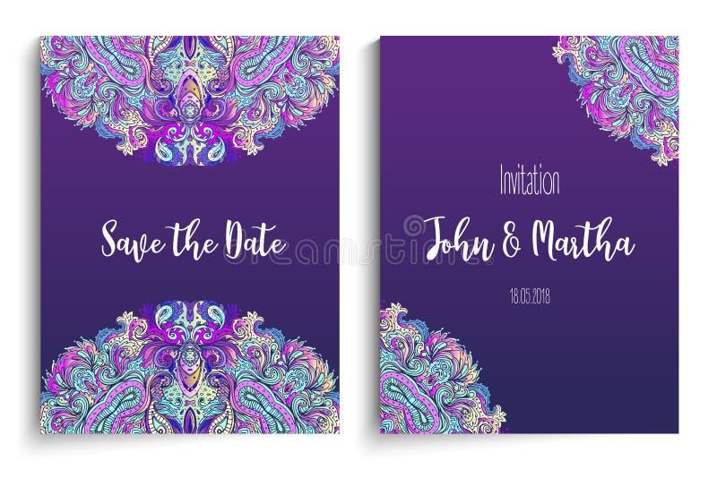 婚姻的邀请的美丽的印地安花饰 保存Th 向量例证