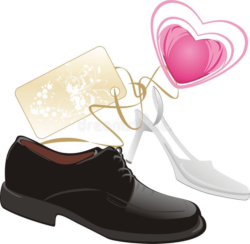 婚姻经典现代的鞋子 向量例证