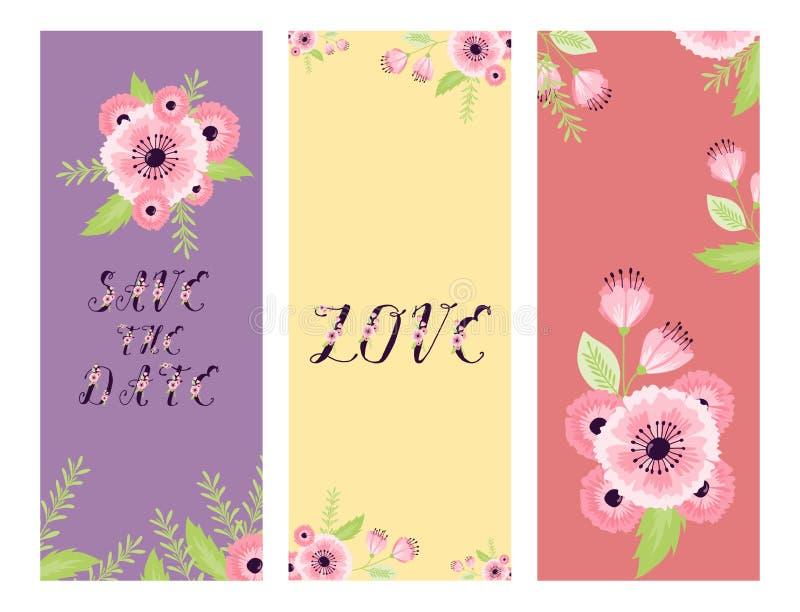 婚姻花卉卡片邀请庆祝日期救球葡萄酒的日期爱花情人节开花的传染媒介救球 皇族释放例证