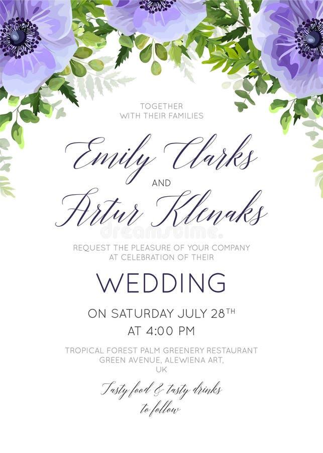 婚姻花卉邀请,邀请救球日期卡片设计与 库存例证