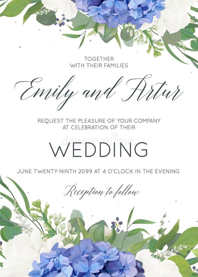 婚姻花卉邀请,邀请,与蓝色八仙花属花,白色庭院玫瑰,绿色eucalyptu典雅的花束的卡片设计  皇族释放例证