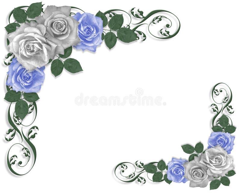 婚姻蓝色边界的玫瑰 库存例证